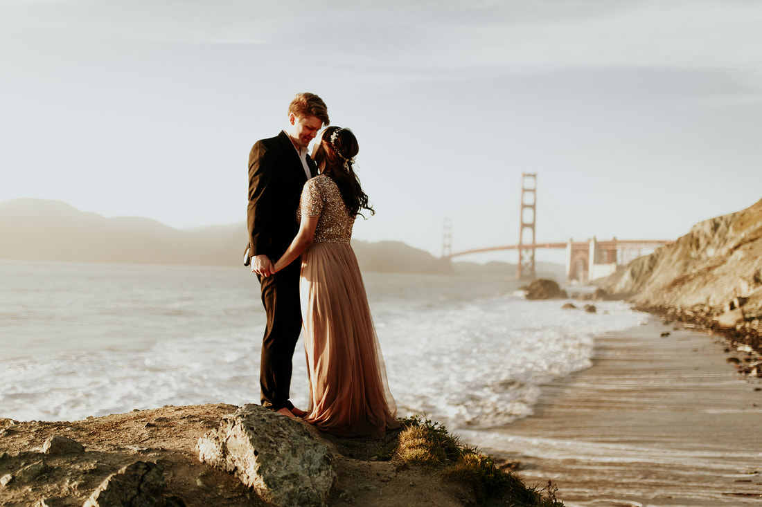 San Francisco Coast Beach Golden Gate Bridge Engagement Photography | Bay Area Wedding Photographer