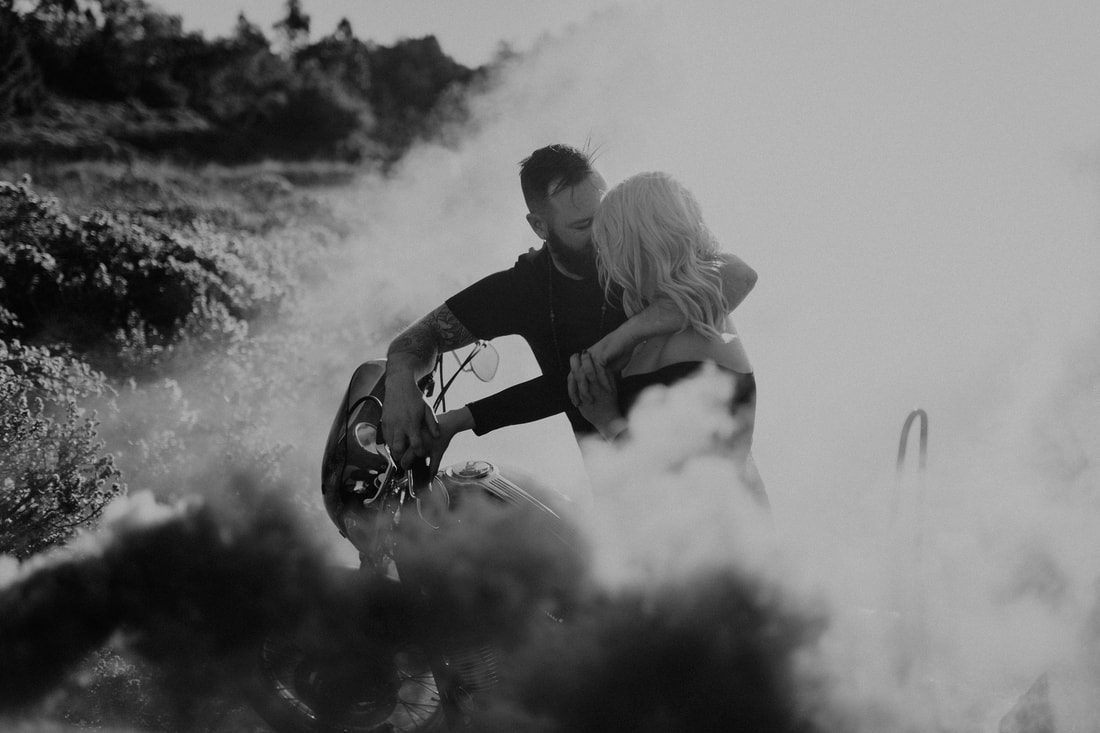 Smoke Bomb Motorcycle Engagement Photographer