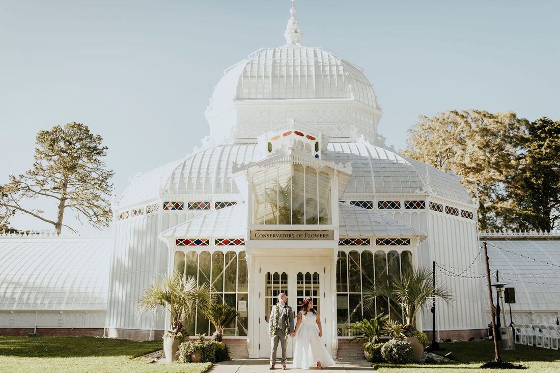 Tropical Greenhouse SF Conservatory of Flowers Wedding | San Francisco Wedding Photographer